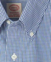 Load image into Gallery viewer, Close up of blue cotton shirt