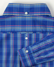 Load image into Gallery viewer, Close up of blue check cotton shirt back