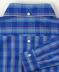 Close up of blue check cotton shirt back