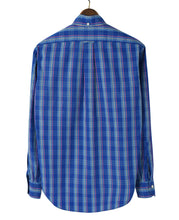 Load image into Gallery viewer, Back of blue check cotton shirt