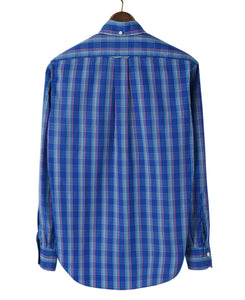 Back of blue check cotton shirt