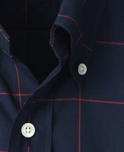 Close up of blue check cotton shirt