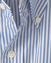 Load image into Gallery viewer, Close up of blue stripe cotton shirt