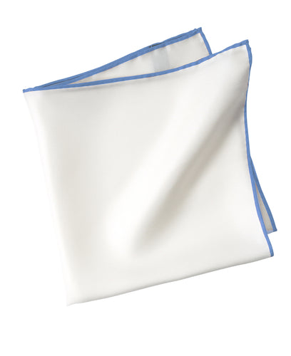 White silk pocket square with blue piping