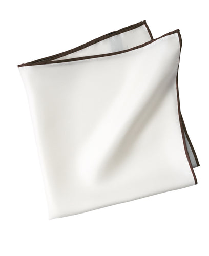 White silk pocket square with brown piping