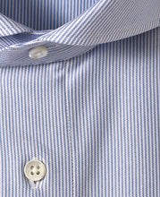 Load image into Gallery viewer, Close up of blue stripe cotton and polyester shirt