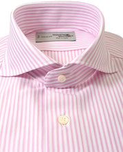 Load image into Gallery viewer, Close up of pink stripe cotton and polyester shirt