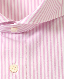Close up of pink stripe cotton and polyester shirt