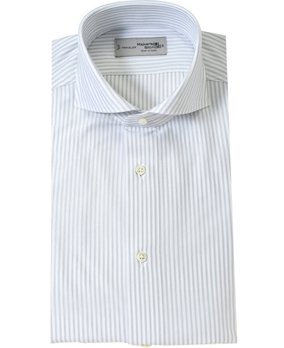 Gray stripe cotton and polyester shirt