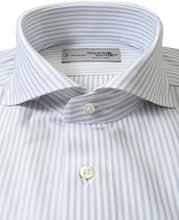 Load image into Gallery viewer, Close up of gray stripe cotton and polyester shirt