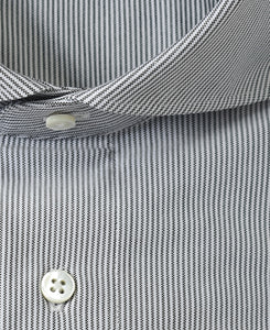 Close up of black stripe cotton and polyester shirt