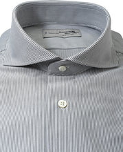 Load image into Gallery viewer, Close up of black stripe cotton and polyester shirt