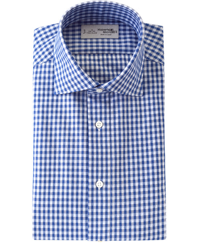 Blue check cotton and polyester shirt