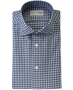 Navy check cotton and polyester shirt