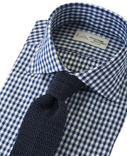 Load image into Gallery viewer, Navy check cotton and polyester shirt with tie