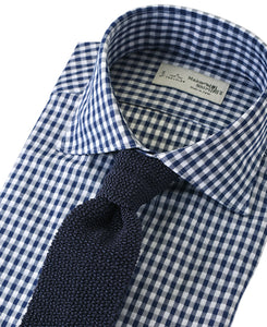 Navy check cotton and polyester shirt with tie