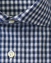 Load image into Gallery viewer, Close up of navy check cotton and polyester shirt
