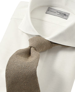 White cotton and polyester shirt with tie