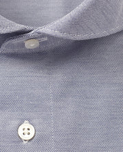 Load image into Gallery viewer, Close up of blue cotton and polyester shirt