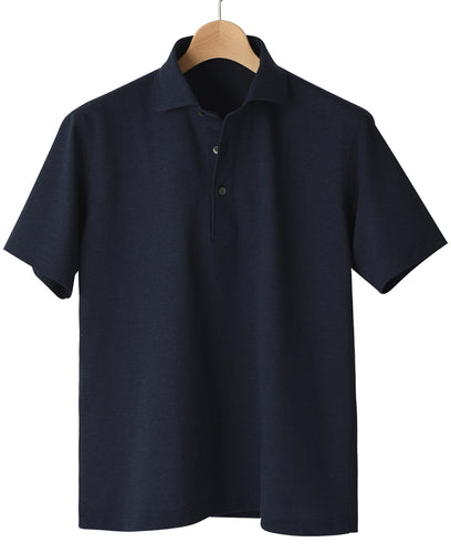 Navy cotton and polyester polo shirt