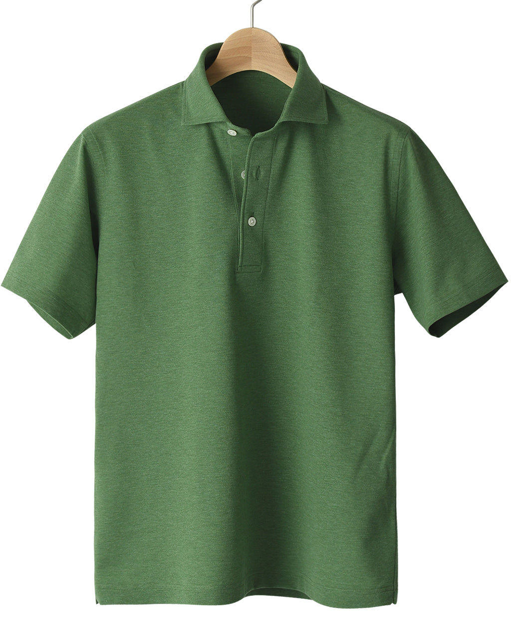 Green cotton and polyester polo shirt