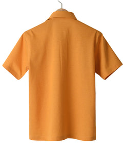 Back of orange cotton and polyester polo shirt