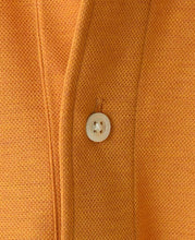 Load image into Gallery viewer, Close up of orange cotton and polyester polo shirt