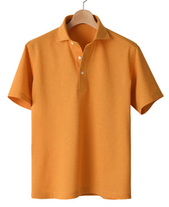 Orange cotton and polyester polo shirt