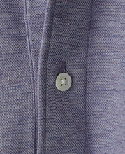 Load image into Gallery viewer, Close up of purple cotton and polyester polo shirt