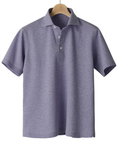 Purple cotton and polyester polo shirt