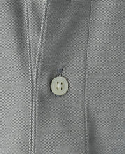 Load image into Gallery viewer, Close up of gray cotton and polyester polo shirt