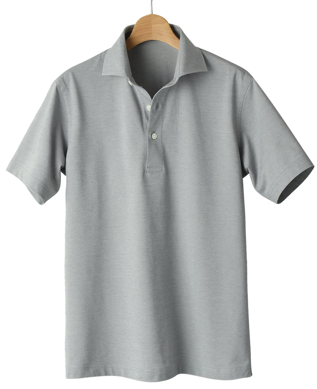 Gray cotton and polyester polo shirt