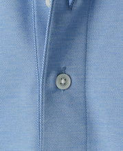 Load image into Gallery viewer, Close up of blue cotton polyester polo shirt