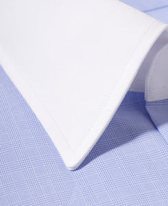 Close up of white contrast collar blue check cotton shirt