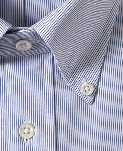 Close up of blue stripe cotton shirt