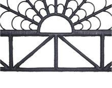 close up of black Cane Designer Headboard