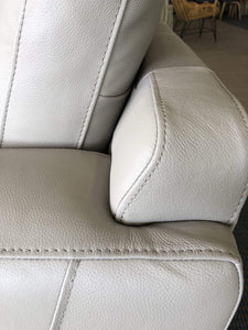 Close up of headrest on Leather Sofa Pair