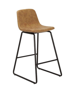 Modern Counter barstool with black metal frame and tan colour seat