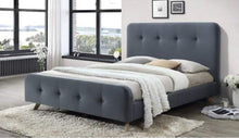 Fabric Buttoned Fabric Bed Frame in Dark Grey Linen Finish
