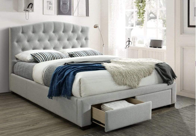 Tori Tufted Fabric Bed Frame with Storage