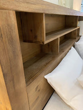 Cube Timber Bed Frame with Storage Drawers and Bookshelf Headboard