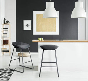 Black barstool at kitchen counter