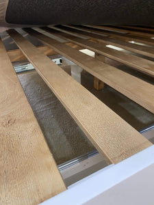 Timber slat system on queen bed frame