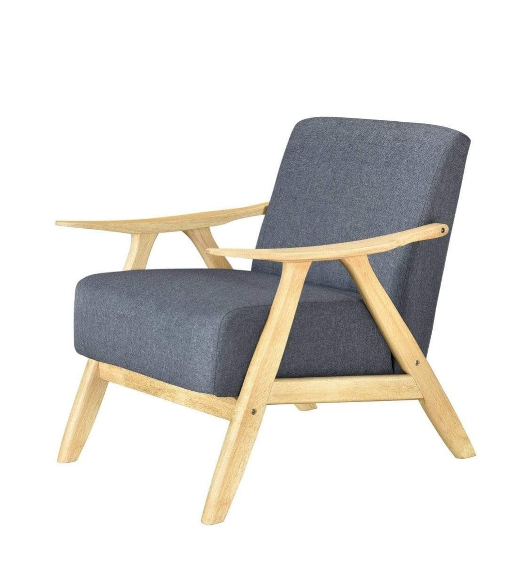 Single Armchair with LIGHT OAK FRAME and MID GREY FABRIC