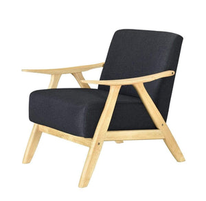 Single Armchair LIGHT OAK FRAME and CHARCOAL FABRIC