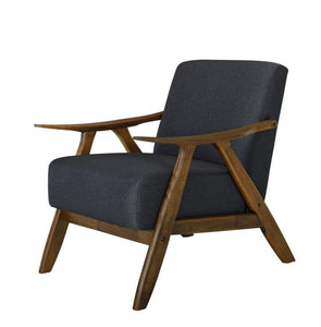 Single Armchair WALNUT FRAME and CHARCOAL FABRIC