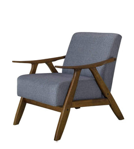 Single Armchair WALNUT FRAME and MID GREY FABRIC