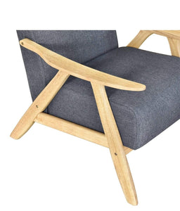 close up Single Armchair with LIGHT OAK FRAME and MID GREY FABRIC