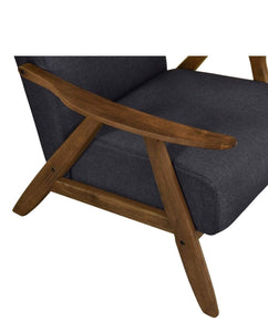 close up of Single Armchair WALNUT FRAME and CHARCOAL FABRIC