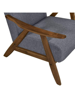 close up of Single Armchair WALNUT FRAME and MID GREY FABRIC